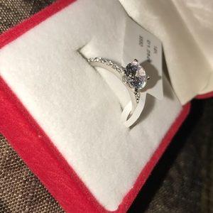 14K solid white gold 1.25 ct diamond ring